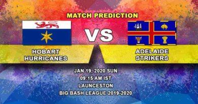 Cricket Prediction - Hobart Hurricanes vs Adelaide Strikers - Big Bash League 19.01