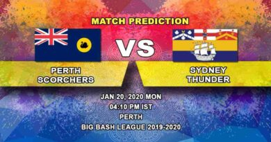 Cricket Prediction – Perth Scorchers vs Sydney Thunder – Big Bash League 20.01