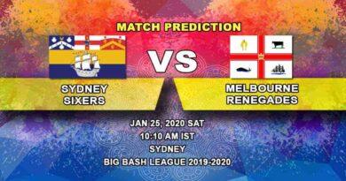 Cricket Prediction - Sydney Sixers vs Melbourne Renegades - Big Bash League 25.01