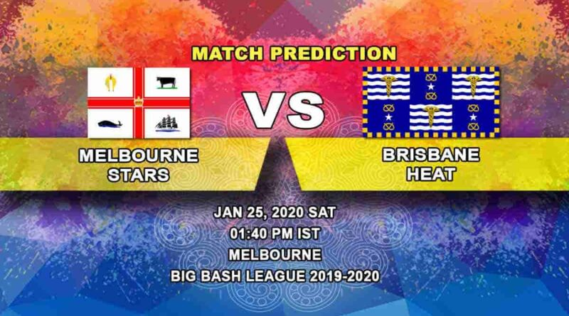 Cricket Prediction - Melbourne Stars vs Brisbane Heat - Big Bash League 25.01