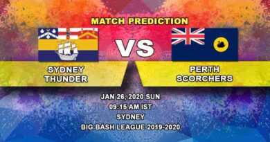 Cricket Prediction - Sydney Thunder vs Perth Scorchers - Big Bash League 26.01