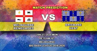 Cricket Prediction - Melbourne Renegades vs Brisbane Heat - Big Bash League 27.01