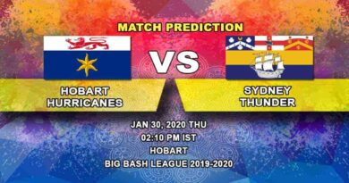 Cricket Prediction - Hobart Hurricanes vs Sydney Thunder - Eliminator - Big Bash League 30.01