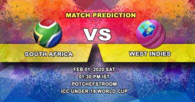Cricket Prediction - South Africa U19 vs West Indies U19 - ICC Under-19 World Cup 01.02
