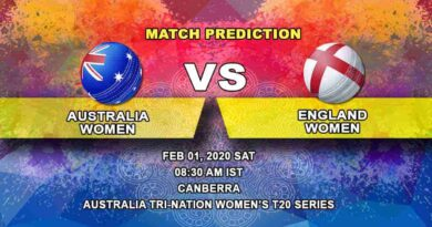 Cricket Prediction - Australia Women vs England Women - Australia Tri-Nation Women's T20 Series 2019/20 01.02