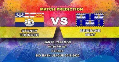 Cricket Prediction Sydney Thunder vs Brisbane Heat Big Bash League 06.01