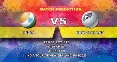 Cricket Prediction - India vs New Zealand -India tour of New Zealand 2019/20 08.02