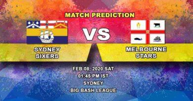 Cricket Prediction - Sydney Sixers vs Melbourne Stars - Final - Big Bash League 08.02