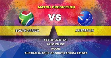 Cricket Prediction - South Africa vs Australia - Australia tour of South Africa 2019/20 29.02