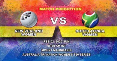 Cricket Prediction - New Zealand Women vs South Africa Women - South Africa Women tour of New Zealand 2019/20 02.02