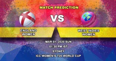 Cricket Prediction - England Women vs West Indies Women - ICC Women's T20 World Cup 01.03