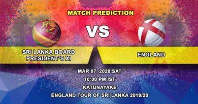 Cricket Prediction - Sri Lanka Board President's XI vs England - England tour of Sri Lanka 2019/20 07.03