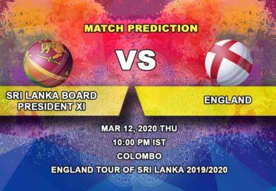Cricket Prediction - Sri Lanka Board President's XI vs England - England tour of Sri Lanka 2019/20 12.03