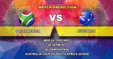 Cricket Prediction - South Africa vs Australia - Australia tour of South Africa 2019/20 04.03